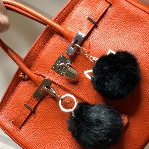 Handbags - Calf skin orange bag.